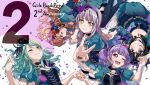 2 5girls ;) ;d anniversary aqua_hair aqua_skirt bang_dream! bangs black_choker black_feathers black_hair blue_feathers blue_flower blue_rose blush breasts brown_hair choker cleavage closed_eyes commentary_request copyright_name countdown cross-laced_clothes crown earrings flower green_eyes grey_hair hair_flower hair_ornament hairband half_updo hand_holding hand_in_hair hands_together highres hikawa_sayo imai_lisa jewelry kneeling long_hair looking_at_another looking_at_viewer lying minato_yukina multiple_girls number official_art on_back on_side one_eye_closed open_mouth petals purple_flower purple_hair purple_rose red_flower red_rose rose roselia_(bang_dream!) shirokane_rinko short_sleeves skirt smile udagawa_ako v violet_eyes