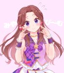 1girl aikatsu! aikatsu!_(series) blue_eyes blush bow bowtie brown_hair check_(check_book) commentary_request flower frills fujiwara_miyabi_(aikatsu!) hair_flower hair_ornament jewelry long_hair looking_at_viewer necklace no_bangs pink_background plaid_neckwear pointing pointing_at_self purple_neckwear shirt skirt sleeveless sleeveless_shirt smile solo star upper_body wrist_cuffs