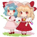 2girls :< :d artist_name ascot bangs blonde_hair blue_hair blush bow chibi commentary_request dated dress eyebrows_visible_through_hair fang flandre_scarlet frilled_shirt_collar frills full_body gotoh510 hand_holding hat hat_bow hat_ribbon holding long_hair looking_at_viewer multiple_girls one_side_up open_mouth pink_dress pink_hat pointy_ears puffy_short_sleeves puffy_sleeves red_bow red_eyes red_footwear red_neckwear red_ribbon red_skirt red_vest remilia_scarlet ribbon shirt shoes short_hair short_sleeves siblings signature simple_background sisters skirt skirt_set smile socks standing touhou vest white_background white_hat white_legwear white_shirt wrist_cuffs yellow_neckwear
