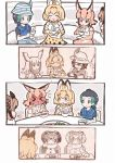 >_< 6+girls :d ^_^ alpaca_suri_(kemono_friends) animal_ear_fluff animal_ears black_hair blonde_hair blush bowl brown_hair caracal_(kemono_friends) caracal_ears closed_eyes closed_eyes comic commentary_request cup eating eurasian_eagle_owl_(kemono_friends) extra_ears food full-face_blush green_hair hat hat_feather head_wings japanese_crested_ibis_(kemono_friends) kaban_(kemono_friends) kemono_friends kyururu_(kemono_friends) memory multicolored_hair multiple_girls northern_white-faced_owl_(kemono_friends) open_mouth orange_hair sepia serval_(kemono_friends) serval_ears short_hair silent_comic smile spoon tanaka_kusao tea teacup