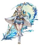 1girl belt blonde_hair blue_eyes blue_hair cape closed_mouth crown dress feather_trim fire_emblem fire_emblem_heroes fjorm_(fire_emblem_heroes) full_body gradient_hair highres holding holding_weapon multicolored_hair nintendo polearm sh06512223 short_dress short_hair simple_background smile solo twitter_username weapon white_background