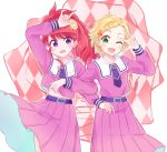 2girls :d ;d \m/ aikatsu! aikatsu!_(series) alternate_costume argyle argyle_background belly_peek belt blonde_hair blue_neckwear braid check_(check_book) commentary_request flower green_eyes hair_flower hair_ornament himezakura_girls'_academy_uniform kurebayashi_juri locked_arms looking_at_viewer medium_skirt multiple_girls neckerchief one_eye_closed open_mouth outline pink_shirt pink_skirt pleated_skirt ponytail redhead shinjou_hinaki shirt short_hair sidelocks skirt smile star star_hair_ornament violet_eyes w_over_eye white_outline wind wind_lift yellow_flower
