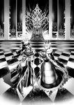 1boy 1girl amatari_sukuzakki armor arthur_pendragon_(fate) artoria_pendragon_(all) banner breastplate cape crown dress fate/grand_order fate_(series) fur_collar gauntlets glowing glowing_sword glowing_weapon greaves greyscale high_collar highres holding holding_sword holding_weapon looking_at_viewer monochrome sabaton saber smile stairs sword throne throne_room weapon