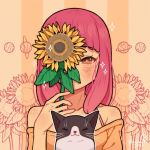 1girl animal artist_name bangs blunt_bangs blush cat covered_mouth flower hanaan holding holding_flower leaf long_hair off-shoulder_shirt off_shoulder one_eye_covered original pink_hair plant saturn shirt signature solo sparkle sunflower yellow_flower
