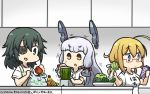 3girls alternate_costume apple apron bag banana bell_pepper blender blonde_hair blue_eyes book broccoli brown_eyes carrot celery clothes_writing counter cucumber dated eyebrows_visible_through_hair eyepatch food fruit glasses green_eyes green_hair hair_ribbon hamu_koutarou headgear highres i-8_(kantai_collection) kantai_collection kiso_(kantai_collection) long_hair low_twintails medium_hair multiple_girls murakumo_(kantai_collection) pepper plastic_bag reading red-framed_eyewear ribbon shirt sidelocks silver_hair t-shirt thick_eyebrows translation_request tress_ribbon twintails vegetable white_hair white_shirt