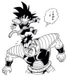 2boys :d armor arms_at_sides black_eyes black_hair clenched_teeth dragon_ball dragon_ball_super_broly facial_hair fingernails frown height_difference highres lee_(dragon_garou) looking_at_another looking_down looking_up male_focus monochrome multiple_boys mustache nappa nervous open_mouth outstretched_arms scouter short_hair simple_background smile son_gokuu spiky_hair standing standing_on_one_leg standing_on_person sweatdrop tail teeth thought_bubble translation_request upper_body white_background younger
