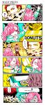 ... 1boy 1girl :q ? artist_name box brother_and_sister charlotte_galette charlotte_katakuri cheek_bulge chewing child comic covered_mouth doughnut drooling eating eighth_note finger_to_mouth food food_on_face gloom_(expression) hair_over_one_eye heart height_difference highres holding holding_box horns k164 licking_lips long_hair long_sleeves looking_at_another musical_note one_piece out_of_frame pants pastry_box pink_hair pointing red_eyes redhead scar scarf scarf_over_mouth short_hair siblings silent_comic sound_effects spoken_ellipsis spoken_heart spoken_musical_note spoken_question_mark stitches tearing_up tongue tongue_out tsurime vest younger