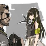 1boy 2girls assault_rifle bandanna black_hair commentary_request executioner_(girls_frontline) eyepatch girls_frontline gun haguruma_(hagurumali) horn m4_carbine m4a1_(girls_frontline) metal_gear_(series) metal_gear_solid_v multiple_girls rifle sangvis_ferri scar skull_print venom_snake weapon x_x