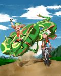 1boy 1girl arm_up backpack bag bandanna bicycle bike_shorts black_pants black_shorts blue_sky breasts brown_hair clenched_teeth closed_eyes clouds cloudy_sky collared_dress commentary_request creatures_(company) donnpati dress fanny_pack fingerless_gloves game_freak gen_3_pokemon gloves green_bandana green_eyes ground_vehicle haruka_(pokemon) hat highres legendary_pokemon looking_at_another mountain nintendo open_mouth orange_dress orange_gloves pants path pocket pokemon pokemon_(creature) pokemon_(game) pokemon_emerald pokemon_rse rayquaza riding_pokemon road shoes short_hair short_sleeves shorts shows sign sky sleeveless sleeveless_dress smile sweatdrop teeth wing_collar yuuki_(pokemon)