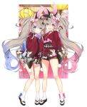 2girls :d ^_^ age_of_ishtaria animal_ears ball blush bow byulzzimon card closed_eyes closed_eyes club_(shape) clubs_hair_ornament company_name diamond_(shape) dice_hair_ornament floral_print flower full_body gradient_hair grey_hair hair_flower hair_ornament hanafuda heart highres holding holding_ball japanese_clothes kimono lantern looking_at_viewer multicolored_hair multiple_girls official_art open_mouth paper_lantern pink_bow playing_card rabbit_ears red_kimono siblings smile spade_(shape) spade_hair_ornament standing tabi temari_ball twins twintails violet_eyes white_legwear wide_sleeves zouri