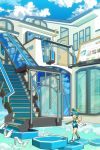 bird birds blue_hair cloud clouds fang hal_(artist) highres pixiv pixiv-tan stairs wings
