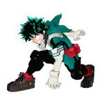 1boy absurdres belt_pouch bodysuit boku_no_hero_academia clenched_teeth commentary derivative_work elbow_gloves fighting_stance freckles gloves green_bodysuit green_eyes green_hair highres hood hood_down huge_filesize kneeling male_focus midoriya_izuku neil_paterson pouch red_footwear solo spiky_hair teeth white_background white_gloves