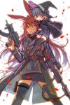 2girls age_difference animal_ears assault_rifle blue_hair brown_eyes brown_hair cape commentary_request elbow_gloves facial_mark feet_out_of_frame gloves gun hat height_difference holding holding_weapon itou_hachi long_hair multiple_girls original rabbit_ears rifle simple_background sitting_on_shoulder skirt thigh-highs trench_coat weapon white_background witch_hat