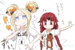 2girls abigail_williams_(fate/grand_order) alternate_costume bangs benienma_(fate/grand_order) black_bow blonde_hair blue_eyes blush bow braid brown_eyes brown_hair closed_mouth clothes_writing collarbone commentary_request double_bun emphasis_lines fate/grand_order fate_(series) hair_bow highres long_hair low_twintails multiple_girls neon-tetora orange_bow outstretched_arm parted_bangs shirt short_sleeves sidelocks simple_background smile sparkle t-shirt translation_request twin_braids twintails very_long_hair white_background white_shirt