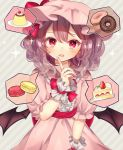 1girl alternate_hair_length alternate_hairstyle arm_up bat_wings blush cherry commentary_request doughnut dress drooling finger_to_face food fruit grey_background hair_between_eyes hat hat_ribbon head_tilt highres looking_at_viewer macaron medium_hair mob_cap nail_polish open_mouth pink_dress pudding puffy_short_sleeves puffy_sleeves purple_hair red_eyes red_nails red_sash remilia_scarlet ribbon sash short_sleeves shortcake slit_pupils solo sparkle speech_bubble spoken_food standing strawberry striped striped_background touhou upper_body whipped_cream wings wrist_cuffs yedan