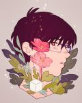 1boy artist_name bangs brown_background brown_eyes brown_hair cube eyebrows_visible_through_hair flower highres katsuki_yuuri leaf male_focus meyoco parted_lips pink_flower plant portrait purple-framed_eyewear short_hair simple_background solo sparkle yuri!!!_on_ice