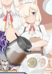 /\/\/\ 2girls ?? afterimage alpaca_ears alpaca_suri_(kemono_friends) alternate_costume animal_ears apron bangs blonde_hair blue_eyes bra bra_peek breasts button_gap buttons clipboard closed_mouth coffee_cup coffee_pot comic contemporary cup disposable_cup dress eating food fork grey_hair hair_between_eyes hair_bun hair_over_one_eye highres holding holding_cup holding_fork hood hood_down hoodie horizontal_pupils indoors john_(a2556349) kemono_friends long_hair long_sleeves low_ponytail medium_hair motion_lines multicolored_hair multiple_girls neck_ribbon orange_hair pancake partially_unbuttoned platinum_blonde_hair pov pov_hands ribbon shaded_face shirt shoebill_(kemono_friends) short_sleeves side_ponytail silent_comic smile solo_focus sound_effects staring underwear waist_apron waitress wrist_cuffs