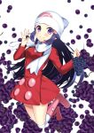 1girl blue_hair boots bow coat coat_dress creatures_(company) floating_hair food fruit game_freak grapes hat highres hikari_(pokemon) knee_boots long_hair long_sleeves looking_at_viewer nintendo pink_bow poke_ball_print pokemon pokemon_(game) pokemon_dppt print_hat red_coat scarf solo thigh-highs thigh_boots very_long_hair violet_eyes white_background white_hat white_legwear white_scarf winter_clothes winter_coat yuihiko