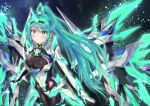 1girl armor bangs blush breasts cocoasabure earrings elbow_gloves gem gloves glowing green_eyes green_hair hair_ornament headpiece highres jewelry large_breasts long_hair looking_at_viewer mechanical_wings night nintendo pneuma_(xenoblade_2) ponytail sky smile solo spoilers star_(sky) starry_sky swept_bangs tiara very_long_hair wings xenoblade_(series) xenoblade_2