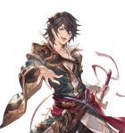 1boy ;d black_hair blue_eyes cain_(granblue_fantasy) granblue_fantasy male_focus minaba_hideo official_art one_eye_closed open_mouth outstretched_hand pants popped_collar smile solo sword transparent_background weapon white_day white_pants wide_sleeves