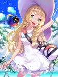 1girl :d arm_behind_head arm_up armpits bag bangs bare_arms bare_shoulders blonde_hair blue_sky blunt_bangs blush clouds contrapposto cosmog cowboy_shot creatures_(company) day dress duffel_bag game_freak gen_3_pokemon gen_7_pokemon green_eyes hat highres honyaru_(nanairo39) horizon lillie_(pokemon) long_hair looking_at_viewer nintendo ocean open_mouth palm_tree pokemon pokemon_(game) pokemon_sm round_teeth see-through shoulder_bag sky sleeveless sleeveless_dress smile straight_hair sun_hat sundress tareme teeth tree twintails upper_teeth very_long_hair white_dress white_hat wingull