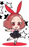 1girl :d blush brown_eyes brown_hair chibi commentary_request cross-laced_footwear do_m_kaeru fishnet_gloves fishnets gloves hair_ribbon okumura_haru open_mouth pantyhose persona persona_5 persona_5:_dancing_star_night plaid plaid_skirt pleated_skirt red_ribbon ribbon short_hair skirt smile solo twitter_username white_legwear