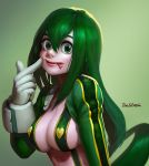 1girl alternate_costume artist_name asui_tsuyu black_eyes black_hair boku_no_hero_academia breasts cleavage commentary_request frog_girl gloves green_background green_eyes green_hair hair_between_eyes hair_rings heart highres large_breasts long_hair looking_at_viewer low-tied_long_hair onestream simple_background smile solo tongue tongue_out upper_body white_gloves