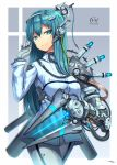 1girl android aqua_eyes aqua_hair bangs breasts cowboy_shot eyebrows_visible_through_hair gia gloves gradient gradient_background grey_gloves headgear highres long_hair looking_at_viewer mechanical_arm medium_breasts original pants shirt signature simple_background single_glove smile solo walking