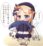 1girl abigail_williams_(fate/grand_order) absurdres bangs black_bow black_dress black_footwear black_hat blonde_hair bloomers blue_eyes blush bow bug butterfly chibi commentary_request dress eyebrows_visible_through_hair fate/grand_order fate_(series) flying_sweatdrops forehead full_body hair_bow hat highres holding holding_stuffed_animal ikea_shark insect kihou_no_gotoku_dmc long_hair long_sleeves looking_at_viewer open_mouth orange_bow parted_bangs polka_dot polka_dot_bow shoes shopping_cart sleeves_past_fingers sleeves_past_wrists solo standing stuffed_animal stuffed_shark stuffed_toy translation_request underwear very_long_hair white_bloomers