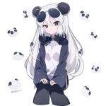 1girl animal_ears bangs black_hair black_legwear blush breasts captain_yue china_dress chinese_clothes closed_mouth copyright_request dress eyebrows_visible_through_hair eyewear_on_head grey_eyes hair_between_eyes head_tilt long_hair long_sleeves multicolored_hair panda_ears pantyhose simple_background sitting sleeves_past_wrists small_breasts smile solo sunglasses twitter_username two-tone_hair very_long_hair white_background white_dress white_hair wide_sleeves