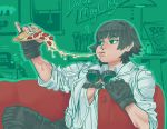 1girl absurdres black_gloves black_hair breasts cheese_trail cleavage collared_shirt couch devil_may_cry eating fingerless_gloves food full_mouth gloves goggles goggles_around_neck highres holding holding_food holding_pizza indoors jacket lady_(devil_may_cry) long_sleeves no_bra on_couch open_clothes open_jacket open_shirt pepperoni pizza pizza_box scar shirt short_hair sitting slice_of_pizza solo ssssquash white_shirt