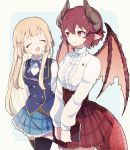 2girls :d ^_^ anne_(shingeki_no_bahamut) bangs blonde_hair blue_background blue_skirt blue_vest blush book breasts brown_hair brown_wings captain_yue center_frills closed_eyes closed_eyes closed_mouth dragon_girl dragon_horns dragon_tail dragon_wings eyebrows_visible_through_hair frills granblue_fantasy grea_(shingeki_no_bahamut) green_background hair_between_eyes hands_together highres holding holding_book horns long_hair long_sleeves manaria_friends medium_breasts multiple_girls open_mouth own_hands_together plaid plaid_skirt pleated_skirt red_eyes red_skirt shingeki_no_bahamut shirt skirt smile tail twitter_username two-tone_background very_long_hair vest white_shirt wings