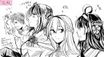 1boy 3girls admiral_(kantai_collection) ahoge ark_royal_(kantai_collection) bob_cut braid closed_eyes commentary_request crown double_bun french_braid hairband headgear jewelry kantai_collection kongou_(kantai_collection) long_hair mini_crown monochrome multiple_girls necklace short_hair signature sneezing spiky_hair tiara translation_request upper_body warspite_(kantai_collection) yamada_rei_(rou)