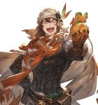 1boy bandanna belt brown_gloves cape closed_eyes gift gloves granblue_fantasy hand_on_hip incoming_gift long_hair male_focus minaba_hideo nezahualpilli official_art open_mouth orange_scarf pouch scarf smile solo transparent_background white_day