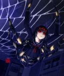 1girl extra_eyes hanging_from_ceiling insect_girl monster_girl muchousha original red_eyes school_uniform silk spider_girl spider_web upside-down