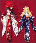 2girls absurdres adapted_costume alternate_costume bangs baocaizi blonde_hair blue_bow blue_kimono blush bow braid brown_hair checkered checkered_bow cherry_blossom_print crescent detached_sleeves egasumi eyebrows_visible_through_hair floral_print flower frilled_bow frills full_body fur-trimmed_kimono fur_trim hair_bow hair_flower hair_ornament hair_tubes hakurei_reimu hand_up hexagon highres holding holding_umbrella huge_filesize japanese_clothes kikkoumon kimono kirisame_marisa long_hair long_sleeves looking_at_viewer multiple_girls obi obiage obijime open_mouth oriental_umbrella parted_lips red_background red_bow red_kimono red_ribbon ribbon ribbon-trimmed_sleeves ribbon_trim sash seigaiha shide side_braid sidelocks single_braid sparkle standing star star_hair_ornament tabi tassel touhou umbrella wavy_hair white_bow white_legwear wide_sleeves yellow_eyes zouri