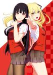 2girls armpit_peek black_hair black_ribbon blonde_hair breasts checkered checkered_background eyebrows_visible_through_hair floating_hair hair_between_eyes hair_ribbon hand_holding highres hime_cut index_finger_raised jabami_yumeko jacket jewelry kakegurui large_breasts long_hair looking_at_viewer medium_breasts multiple_girls nail_polish naomura_tooru official_art open_mouth outstretched_arm pantyhose red_eyes red_nails ribbon ring saotome_meari school_uniform shirt short_sleeves simple_background smile thumb_ring twintails two-tone_background upper_body very_long_hair white_background white_shirt yellow_eyes yellow_nails