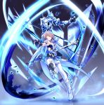 1girl armor armored_dress bangs bare_shoulders belt black_gloves blue_legwear breasts detached_collar elbow_gloves full_body gloves grey_hair hair_ornament hair_over_one_eye hand_up highres holding holding_scythe honkai_(series) honkai_impact_3 large_breasts light_particles looking_at_viewer mole mole_under_eye red_eyes rita_rossweisse rita_rossweisse_(artemis) scythe shinachiku_(uno0101) short_hair sidelocks smile thigh-highs weapon