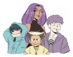 arbok cigarette creatures_(company) game_freak gen_1_pokemon gen_2_pokemon hood hoodie meowth nintendo personification pokemon purple_hair team_rocket tongue tongue_out weezing wobbuffet yamujiburo