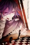 1boy black_hair board_game cape chair checkered checkered_scarf chess chess_piece chessboard chido_ronpa commentary_request danganronpa english_text face face_in_hands hair_between_eyes highres holding jacket looking_down male_focus new_danganronpa_v3 ouma_kokichi purple_hair scarf short_hair simple_background sitting smile solo straitjacket violet_eyes white_jacket