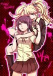 2girls black_footwear black_jacket blonde_hair boots breasts brown_eyes brown_hair brown_skirt bunny_hair_ornament cleavage danganronpa danganronpa_1 dress_shirt enoshima_junko eyebrows_visible_through_hair floating_hair fork freckles grey_eyes hair_ornament happy_birthday holding holding_fork ikusaba_mukuro jacket knee_boots kurozatou_owata long_hair long_sleeves medium_breasts miniskirt multiple_girls open_mouth pleated_skirt polka_dot polka_dot_background red_skirt school_uniform shirt short_hair short_sleeves siblings sisters skirt sleeves_rolled_up twintails very_long_hair white_shirt