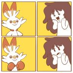 1girl 4koma :d black_eyes boxing_gloves brown_eyes brown_hair calisdraws comic commentary creature creatures_(company) english_commentary eyelashes flat_chest frown game_freak gen_8_pokemon hands_on_own_face happy highres long_hair nintendo open_mouth original pokemon pokemon_(creature) rabbit scorbunny simple_background smile yellow_background