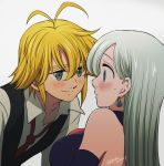 1boy 1girl antenna_hair blonde_hair blue_eyes blue_shirt blue_sleeves blush detached_sleeves earrings elizabeth_liones eye_contact green_eyes grey_background grey_shirt hair_between_eyes harumiya jewelry long_hair looking_at_another meliodas nanatsu_no_taizai necktie parted_lips red_neckwear shiny shiny_hair shirt silver_hair simple_background sleeveless sleeveless_shirt smile