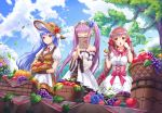 3girls basket blue_flower blue_hair blue_rose blue_sky braid breasts brown_dress brown_gloves brown_hair brown_hat center_frills character_request closed_eyes closed_mouth clouds cloudy_sky collared_dress commentary_request corset day detached_sleeves dress flower food food_request frills fruit gloves grapes hands_together hat highres holding holding_food houchi_shoujo leaf leaves_in_wind long_hair long_sleeves lunacle medium_breasts multiple_girls outdoors own_hands_together puffy_short_sleeves puffy_sleeves pumpkin purple_flower purple_hair purple_rose red_eyes red_flower red_rose rose see-through see-through_sleeves short_sleeves sky smile strapless strapless_dress tree twin_braids twintails very_long_hair white_dress white_gloves wide_sleeves