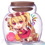 1girl :d against_glass ankle_socks arms_up blonde_hair bottle candy checkerboard_cookie chibi commentary_request cookie cravat dated eyebrows_visible_through_hair flandre_scarlet food frilled_shirt_collar frilled_skirt frills gunjou_row hair_between_eyes hat hat_ribbon in_bottle in_container leaning_to_the_side looking_at_viewer mary_janes mob_cap open_mouth pink_hat pink_shirt puffy_short_sleeves puffy_sleeves red_eyes red_footwear red_skirt red_vest ribbon shadow shirt shoes short_hair short_sleeves side_ponytail signature simple_background skirt slit_pupils smile solo standing touhou vest white_background white_legwear wings yellow_neckwear