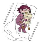 1girl bed_sheet cuddling futon gen_1_pokemon highres kiana_mai meowth pajamas pillow poke_ball purple_hair sleeping