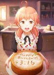 1girl ahoge apron bag birthday birthday_cake brown_eyes cabinet cake cherry_print food food_print happy_birthday indoors koito_yuu looking_at_viewer mixing_bowl open_mouth painting_(object) pink_hair short_hair short_sleeves short_twintails sink solo somatcha standing tile_floor tiles twintails twitter_username whisk window yagate_kimi_ni_naru