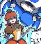 1girl blue_eyes brown_hair crown dress earrings flower jewelry jojo_no_kimyou_na_bouken jojo_pose mario_(series) nintendo orange_dress parody phiphi-au-thon pose princess_daisy smug stand_(jojo) super_smash_bros. toad