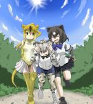 3girls ^_^ african_wild_dog_(kemono_friends) african_wild_dog_print animal_ear_fluff animal_ears animal_print annoyed arms_behind_back bear_ears bike_shorts black_footwear black_hair black_skirt blue_sky bodystocking boots bow bowtie breast_pocket brown_bear_(kemono_friends) circlet closed_eyes closed_eyes closed_mouth commentary_request cutoffs day dog_ears dog_tail elbow_gloves eyebrows_visible_through_hair fingerless_gloves friends full_body gloves golden_snub-nosed_monkey_(kemono_friends) green_eyes grey_eyes grey_hair hair_between_eyes hand_on_another's_head hand_on_own_arm hands_up hane_(kirschbaum) happy high_ponytail kemono_friends leaning_forward leotard long_hair long_sleeves looking_at_another medium_hair monkey_ears monkey_tail multicolored_hair multiple_girls one_eye_closed open_mouth outdoors petting pocket print_legwear print_sleeves running shirt shoes short_over_long_sleeves short_sleeves shorts shorts_under_skirt skirt sky smile spread_fingers sun tail thigh-highs two-tone_hair v-shaped_eyebrows walking white_footwear white_hair white_shirt yellow_footwear yellow_gloves yellow_legwear