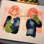 1girl artist_name bangs black_sweater covered_mouth cropped_torso eyebrows_visible_through_hair highres leaf long_sleeves looking_at_viewer meyoco multiple_views original photo pink_hair profile short_hair solo sweater traditional_media upper_body